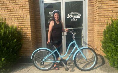 "Melissa's new ""big girl"" bike"